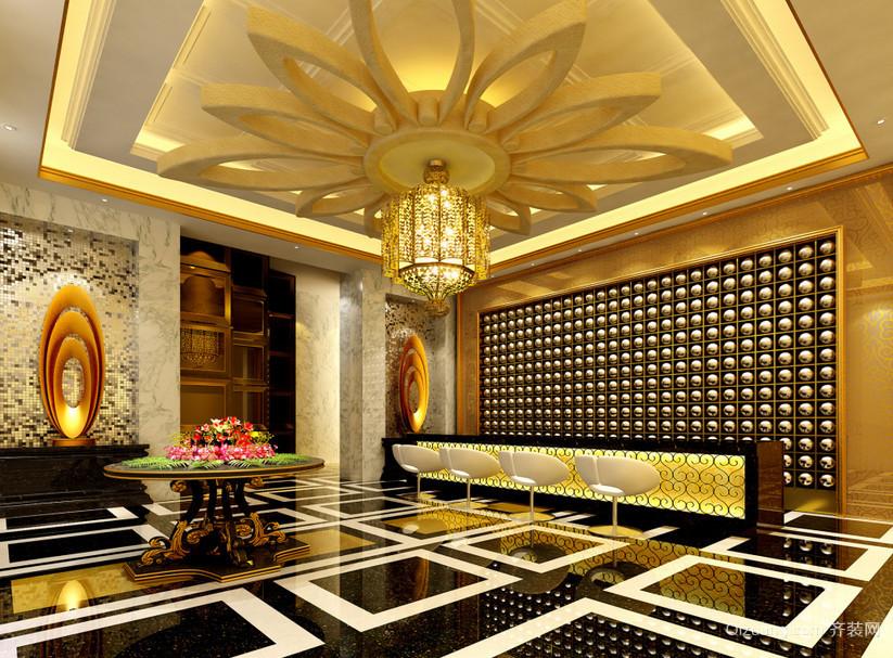 豪华型大型现代酒店大厅吊顶装修效果图