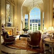 欧式风格奢华客厅拱形门装饰