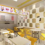 简约清新风格奶茶店背景墙装饰