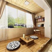 日式清新风格书房原木吊顶装饰