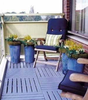 优雅的蓝色阳台装修设计图