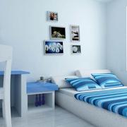 简约蓝色系卧室床头背景墙装饰