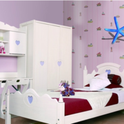 简约风格紫色系儿童房背景墙装饰
