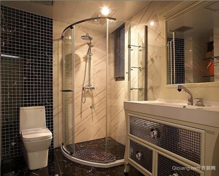 一居室欧式现代卫生间瓷砖背景墙效果图