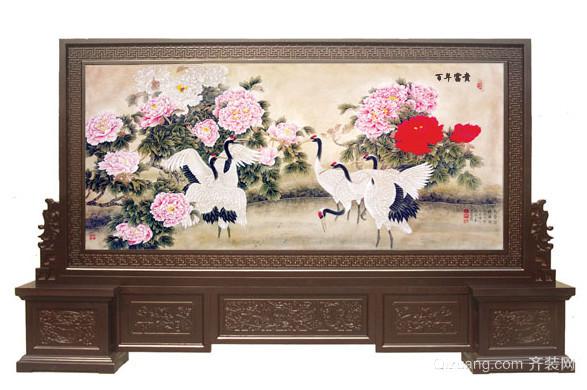 中式仿古木制雕花屏风效果图