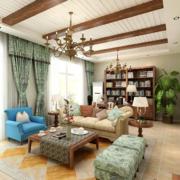 美式简约风格客厅原木吊顶装饰