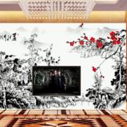 中式风格黑白山水画电视背景墙装饰