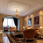 欧式风格简约客厅矩形吊顶装饰
