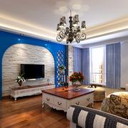 地中海简约风格白色系客厅吊顶装饰