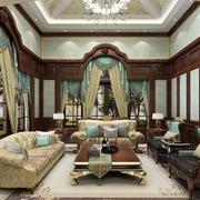 美式风格深色系客厅窗帘装饰