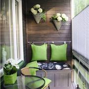 日式果绿色阳台原木背景墙装饰