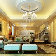 欧式奢华客厅圆形吊顶装饰