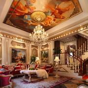 巴洛克风格客厅壁画吊顶装饰