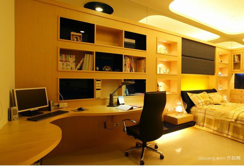 70平米小户型欧式卧室书柜背景墙装修效果图