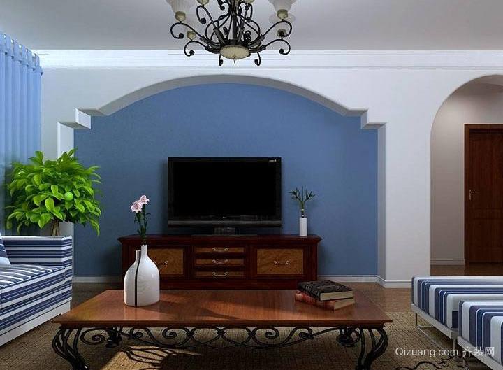 地中海客厅电视背景墙效果图欣赏