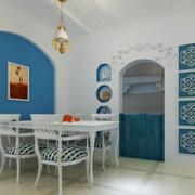 现代简约风格餐厅浅蓝色背景墙装饰