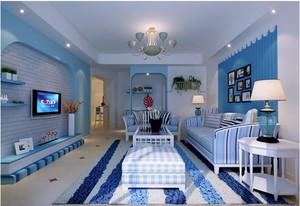 地中海蓝色系客厅背景墙装饰