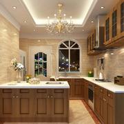美式简约风格厨房原木橱柜装饰