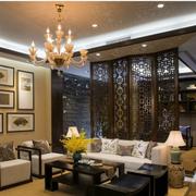中式复式楼简约风格屏风装饰