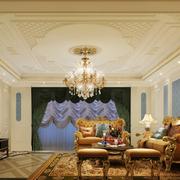 别墅欧式客厅印花吊顶装饰