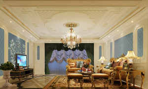 大户型富贵雅致新古典客厅吊顶电视背景墙装修效果图