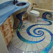 卫生间简约风格创意地砖装饰