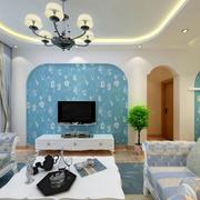 欧式简约风格蓝色系电视背景墙装饰