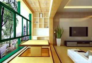 120平米大户型日式客厅酒柜背景墙装修效果图