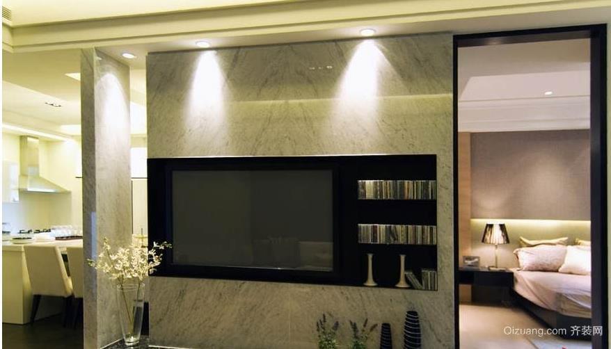 现代个性时尚客厅影视墙装修效果图