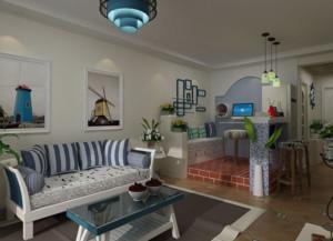 地中海风格客厅照片墙装修设计效果图
