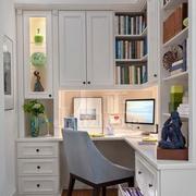 简单白色典雅型小书房