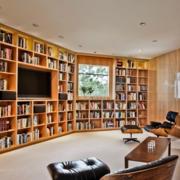 美式简约风格书房原木书柜装饰