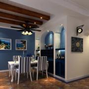 地中海风格餐厅原木吊顶装饰