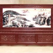 中式原木深色客厅屏风设计