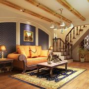 欧式客厅简约风格原木吊顶装饰