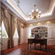 欧式风格奢华书房窗帘装饰