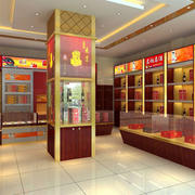 中式风格烟酒店置物架装饰