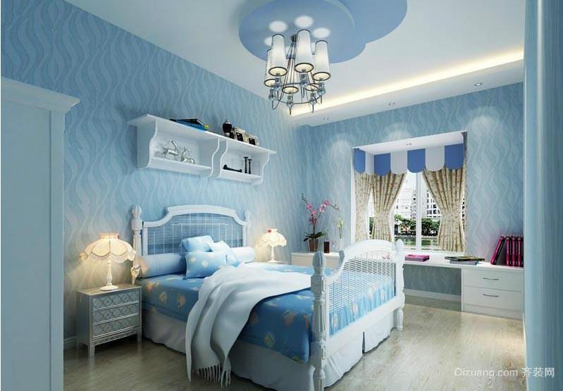 70平米小户型地中海风格儿童卧室背景墙装修效果图