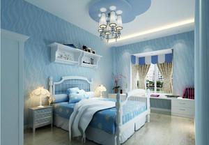 房间背景墙淡蓝色款