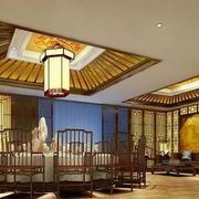 中式简约风格饭馆吊顶装饰