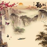 中式风景画电视背景墙装饰