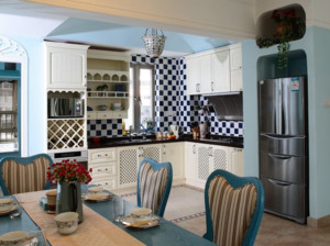 20平米地中海开放式厨房装修效果图
