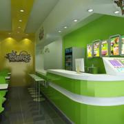 清新绿色奶茶店吊顶装饰