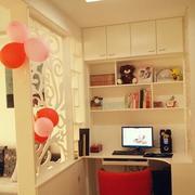 简单粉白色清新小书房