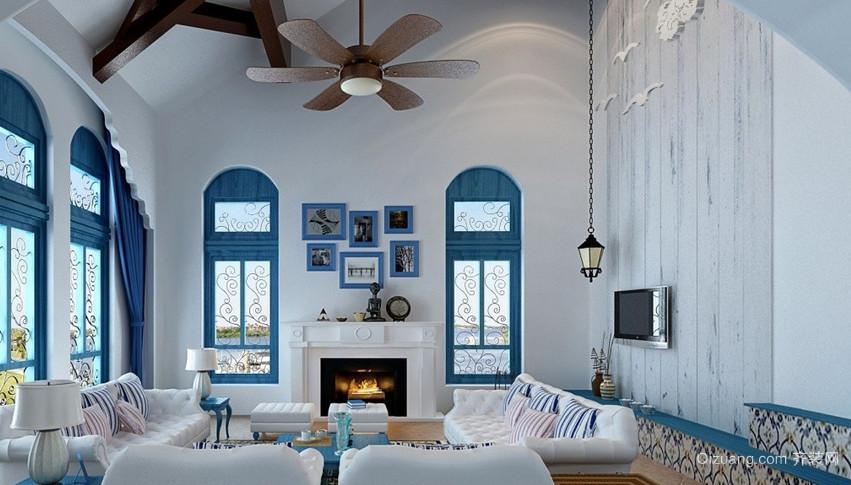 地中海两居室客厅电视背景墙装修效果图