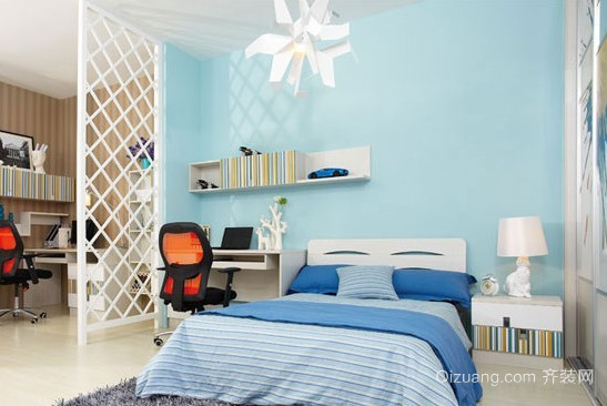 两室一厅地中海风格卧室背景墙装修效果图