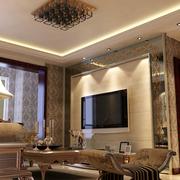 复式楼奢华风格客厅背景墙装饰