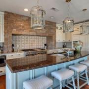 美式清新风格厨房吧台装饰