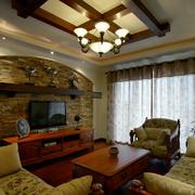 美式风格复古石制电视背景墙装饰