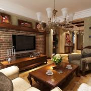 美式简约风格客厅石制电视背景墙装饰
